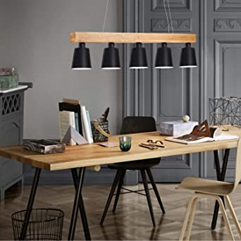 Zmh Pendant Light Dining Table Hanging Lamp Rustic Dining Room Lamp Dining Table Lamp 5 Bulbs E27 Led Warm White Bulb Included Black Amazon De Beleuchtung