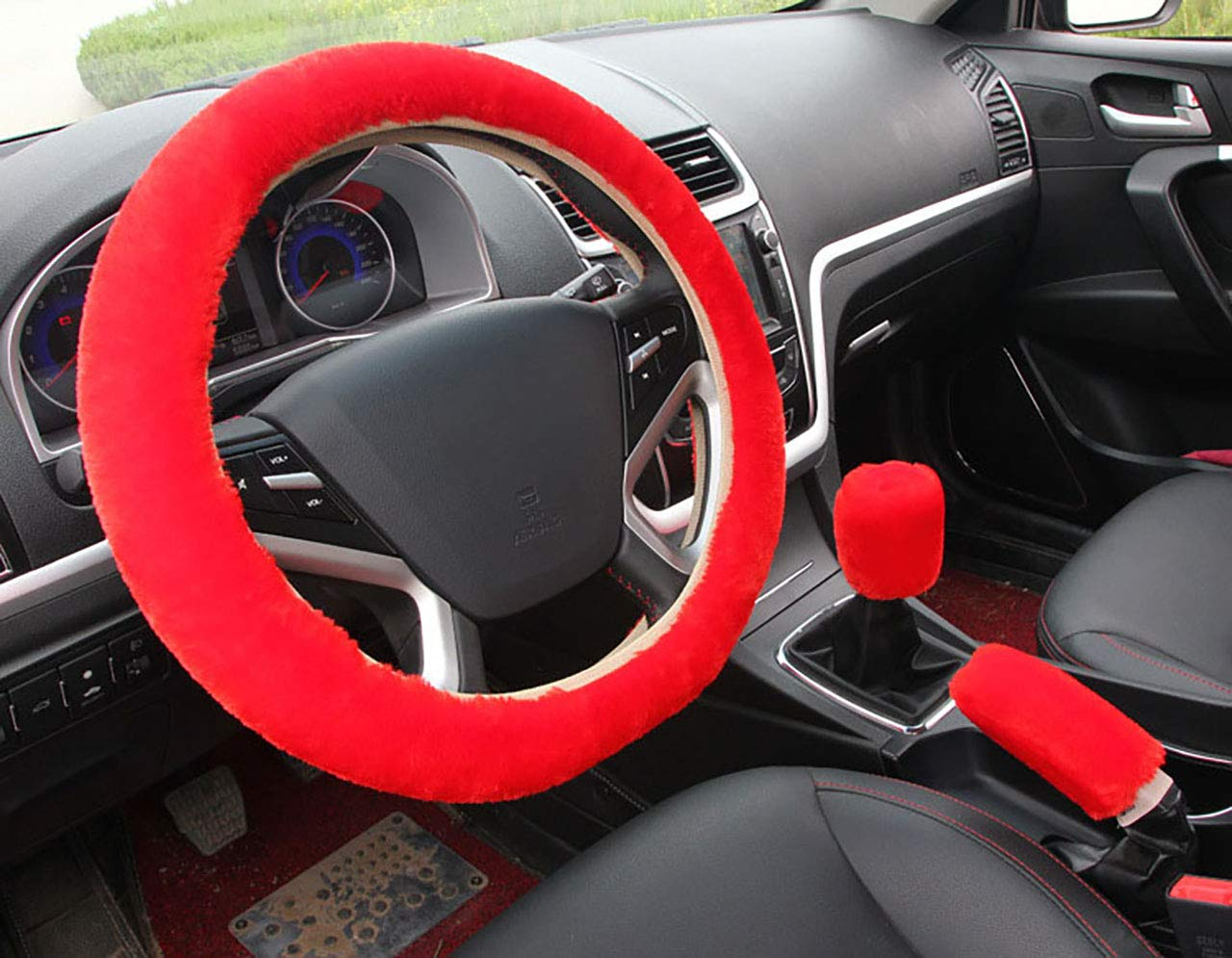 3pcs Plush Car Steering Wheel Covers Winter Faux Wool Hand Brake & Gear Cover Set Car Seat Cover Interior Accessories-38cm (red) acdiac sjt2