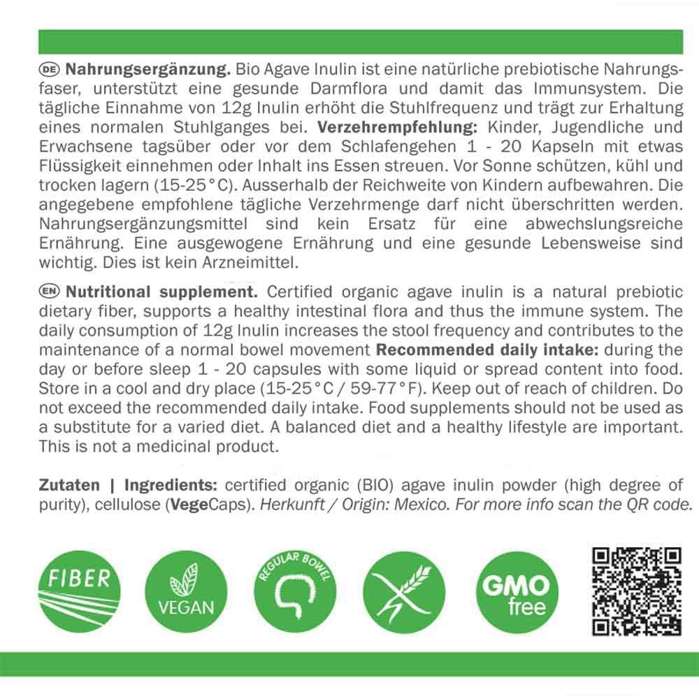 Inulina BIO Agave | fibra alimentaria florabiótica 600mg | cepas bacterianas buenas | pureza máxima | contenido mínimo de 90% de fibra | vegano | sin ...
