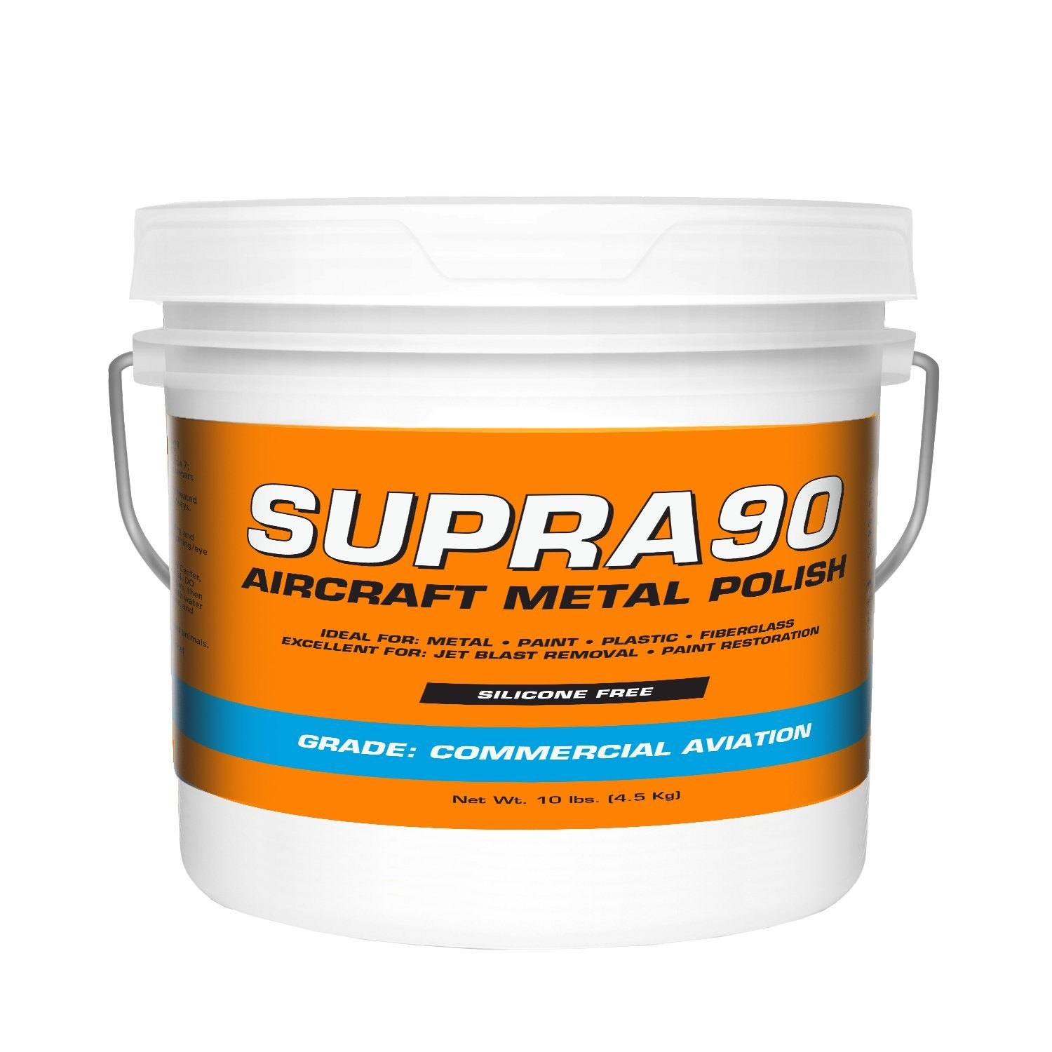Supra90 Aircraft Metal Polish (10lb) for Airplane Painted Surfaces - Removes Jet Blast & Fuel Stains, Meets Boeing and Airbus Requirements