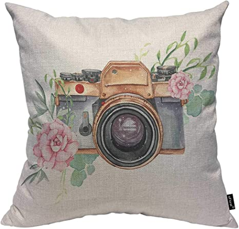 Amazon Com Ofloral Camera And Flower Throw Pillow Cushion Cover Perfect For Photography Logo Decorative Square Accent Pillow Case 18 X18 Inch Home Kitchen