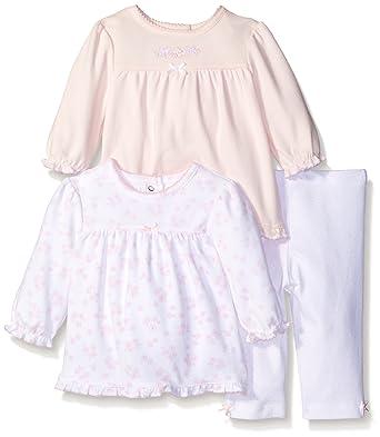 4c052a97d5450 Little Me Baby Girls' Newborn Babysweet Lovebirds 3 Piece Cotton Tunic and Leggings  Set,