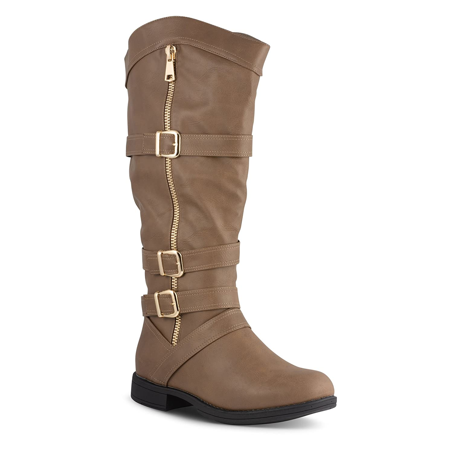 Twisted Women's AMIRA Wide Width/Wide Calf Faux Leather Knee-High Western Flat Riding Boot with Multi Buckle Straps B00M3FMU2Q 9 C/D US|Taupe