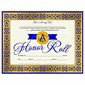 Amazon.com : A Honor Roll Certificate - Blue Ribbon - Matte Paper ...