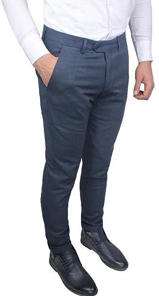 235043561a Pantaloni Uomo sartoriali Grigio Blu Rigato Quadri Slim Fit Invernali  Casual Eleganti Jeans con Risvolto