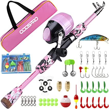 Amazon Com Oddspro Kids Fishing Pole Pink Portable Telescopic Fishing Rod And Reel Combo Kit With Spincast Fishing Reel Tackle Box For Girls Youth Sports Outdoors