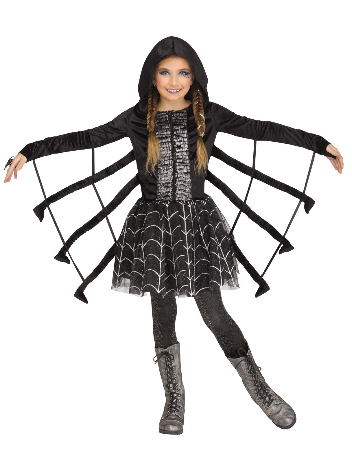 - 71qBW0xPn4L - Fun World Sparkling Spider Girls Halloween Costume