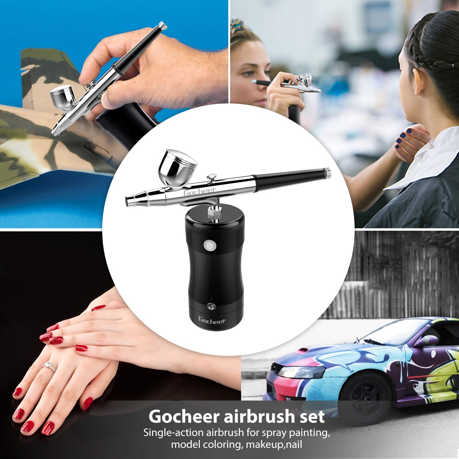 Gocheer Airbrush Set, Mini Portable Airbrush with USB Paint Spray Gun for Art Painting Tattoo Manicure Cakes Spray Model with Low Noise, DIY Tool