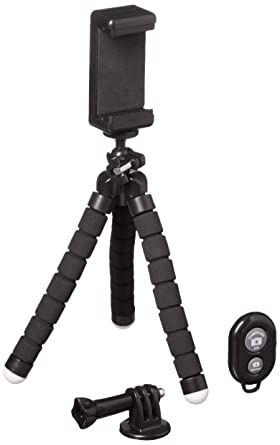 Phone Tripod, Portable and Adjustable Stand Holder with Bluetooth Remote and Universal Clip for iPhone X ...