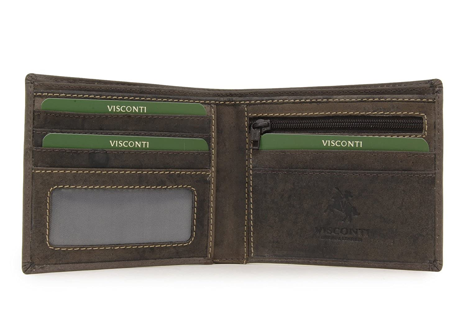 Mens Hunter Distressed Oiled Leather Wallet RFID Bifold Visconti  707-2 colours
