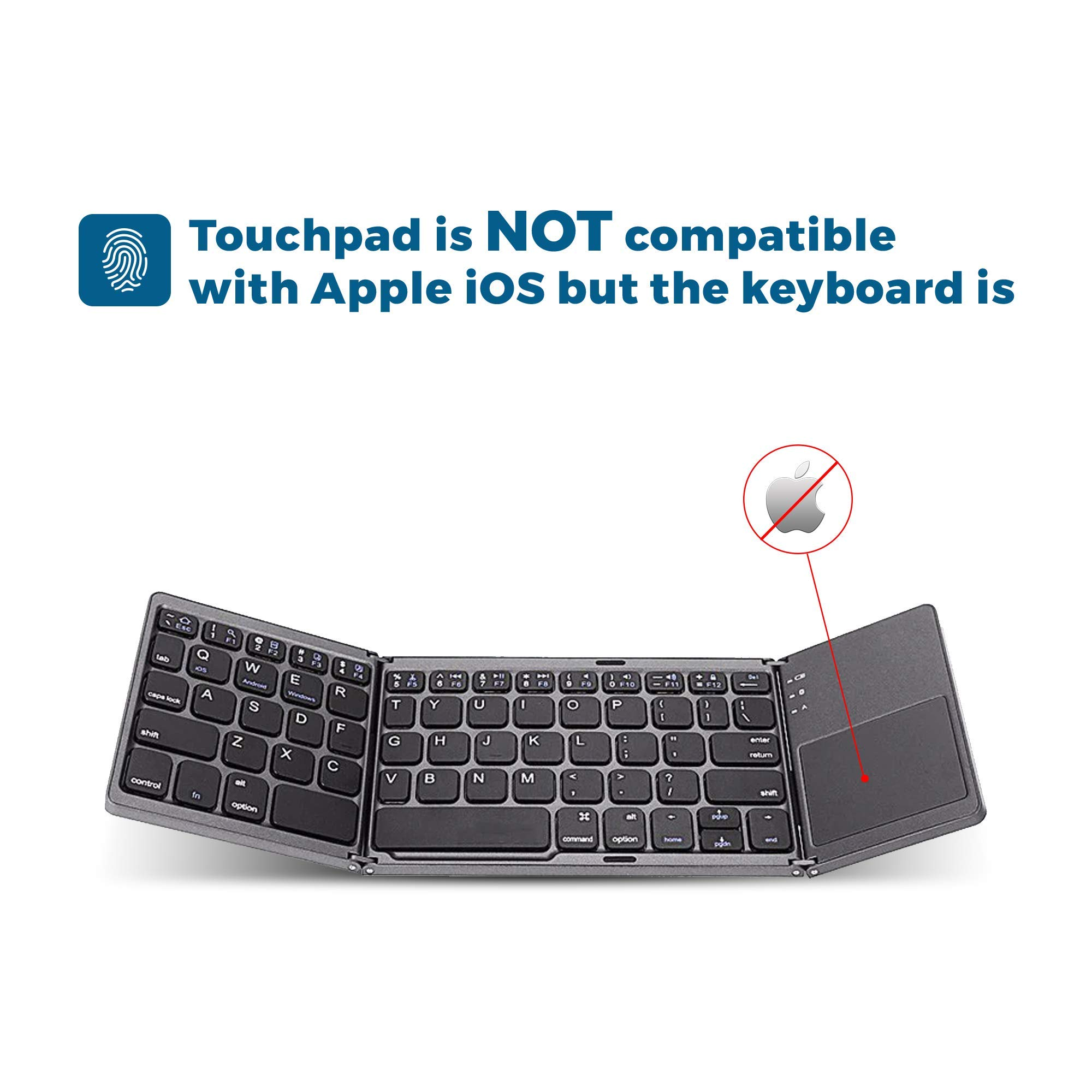Folding Bluetooth Keyboard with Touchpad Trendy Wag Portable Wireless Foldable Pocket Size BT Rechargeable for PC Laptop Tablet Smartphone