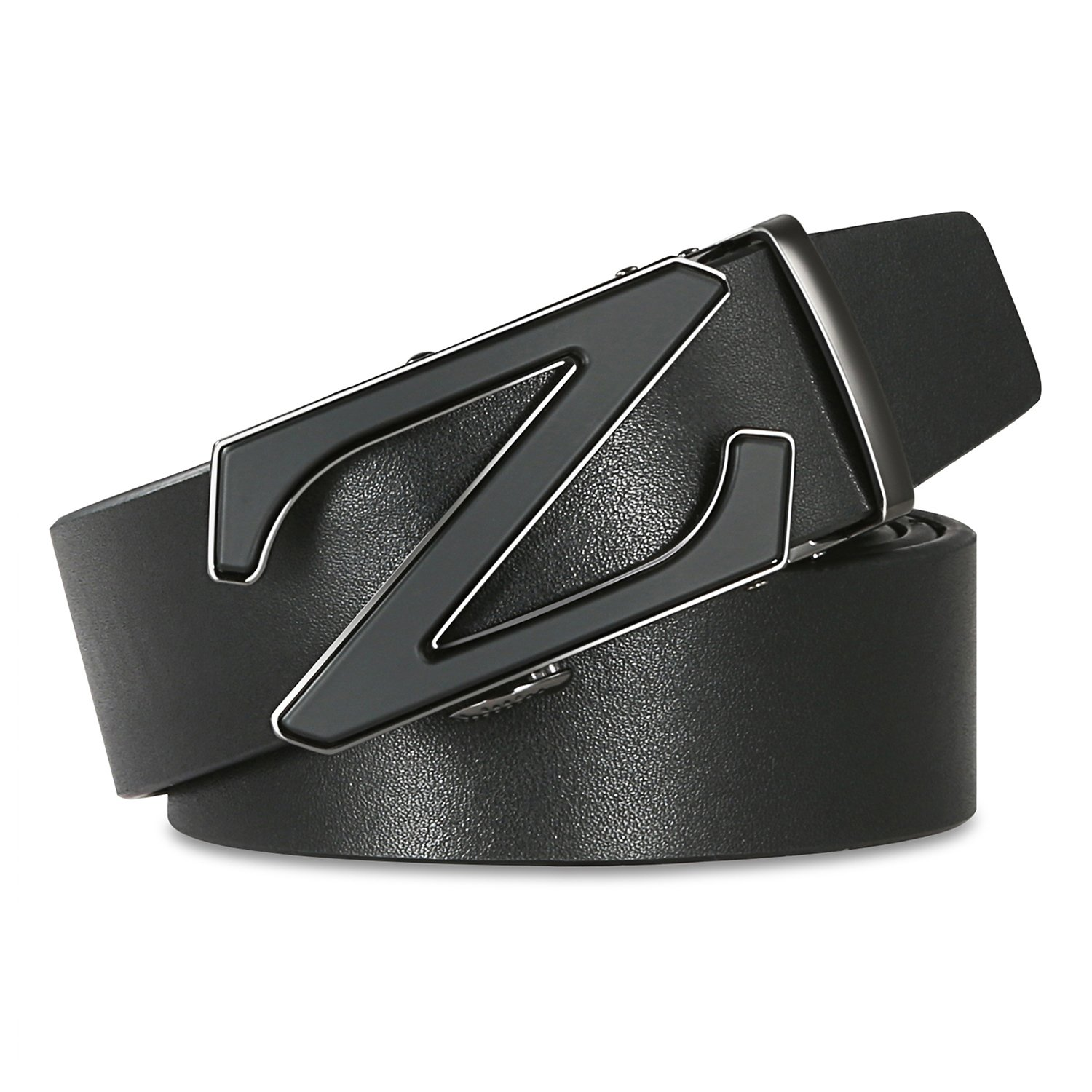 【New 2018 Version】28''-62'' Z Belts Black Leather Belts for Men with Removable Buckle Automatic Ratchet Belt by WAYMO (Image #2)