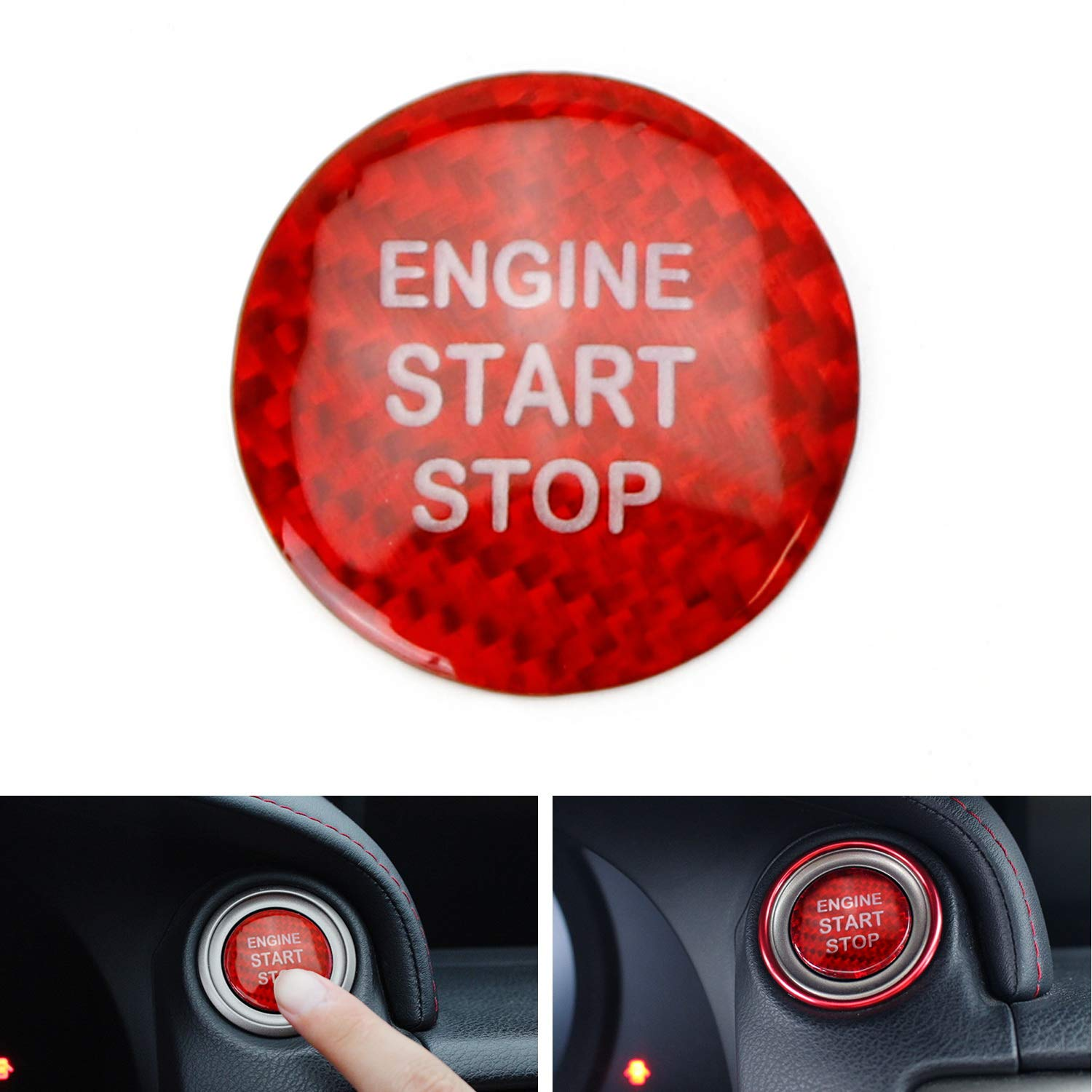 2016-up RX NX Gloss Red Real Carbon Fiber Keyless Engine Start//Stop Push Start Button Cover For 2014-up Lexus IS GS ES RC etc 1 iJDMTOY