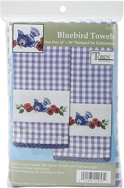 TOBIN Hand Kitchen Towels for Stamped Embroidery Blue BIRDS Needlework Set of 2