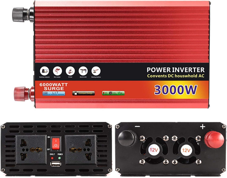 Inversor de coche 1300W / 2000W Peak Power Inverter 12V 24V 48V 60V DC Inversor de corriente del coche A 220VAC Converter 2 Outlets de CA 1 Puerto USB Inversor de a 3000W/60V