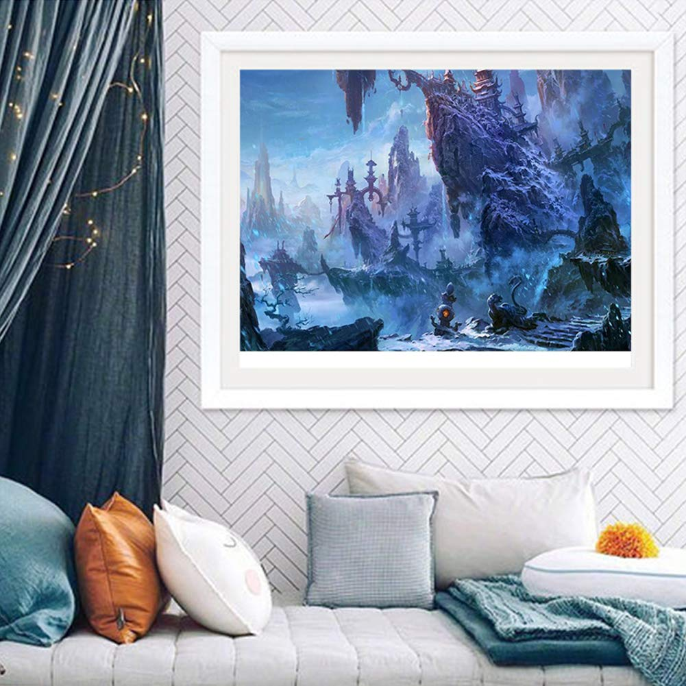 DIY 5D Diamond Painting by Number Kits Full Drill Crystal Rhinestone Embroidery Pictures Arts Craft for Home Wall Decoration Blue Sky Beach 15.7/×11.8Inch