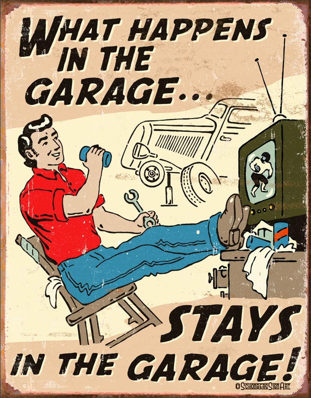 "Desperate Enterprises Schonberg - What Happens in The Garage Tin Sign, 12.5"" W x 16"" H"