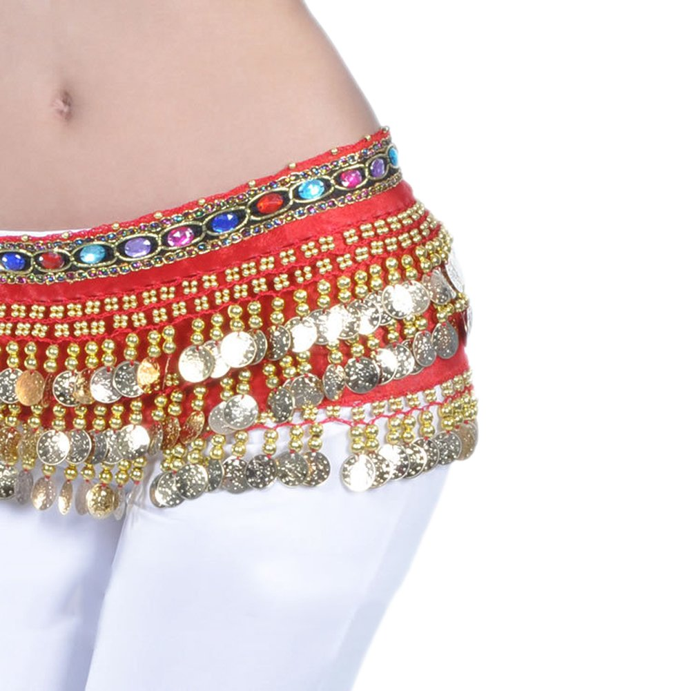 AvaCostume Belly Dance Gold Coins Jewelry Dangling Hip Scarf Skirt Red,One Size