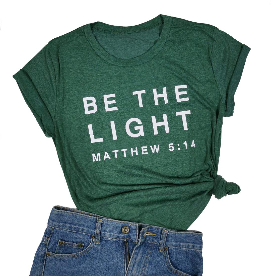 Be The Light Faith Shirts Women Jesus Christian T-Shirt Summer Letter Printed Short Sleeve Loose Tee Tops