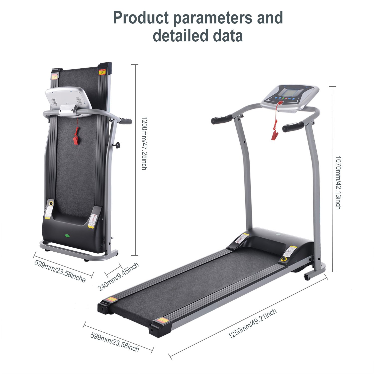 Folding Electric Treadmill Running Machine Power Motorized for Home Gym Exercise Walking Fitness (1.5 HP - Silver - Not Incline) by ncient (Image #5)