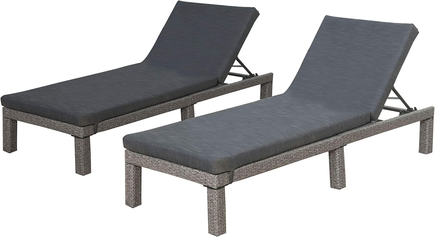 Christopher Knight Home Puerta Outdoor Wicker Chaise Lounges with Water Resistant Cushion, 2-Pcs Set, Mixed Black / Dark Grey
