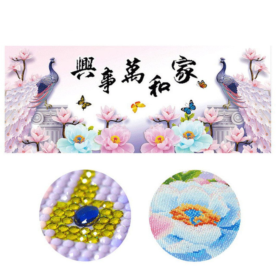 Mazixun Diamond Embroidery''Pink Peacocks''DIY Diamond Painting Special Full Cross Stitch Diamant Mosaic Bead Picture Home Decor