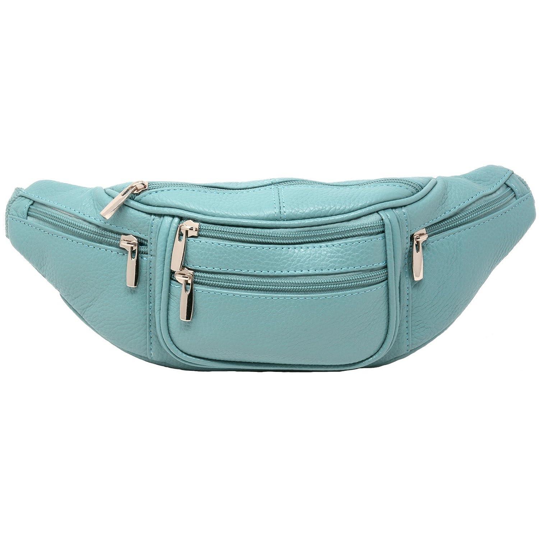 not patch Fanny Pack Leather Waist Pack 6 Pocket Genuine Solid Large adjustable strap