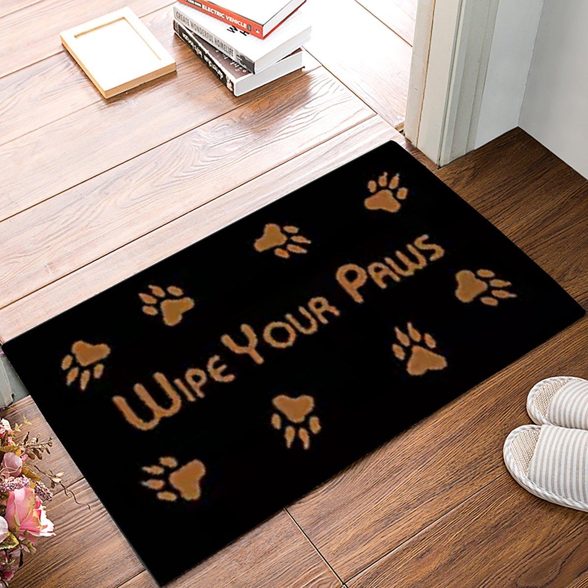 Large Wipe Your Paws Welome Doormats Front Door Mat Waterproof Shoes Scraper Entryway Rug for Indoor Kitchen Floor Bathroom Patio Porch Home Decor Recycled Rubber Non Slip 18 x 30 Inch