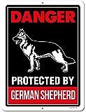 Honey Dew 礼物 Beware of German Shepherd 标志,危险受德国牧羊犬保护,22.86 x 30.48 厘米 Beware of Dog 警告金属铝标牌,防护狗标志