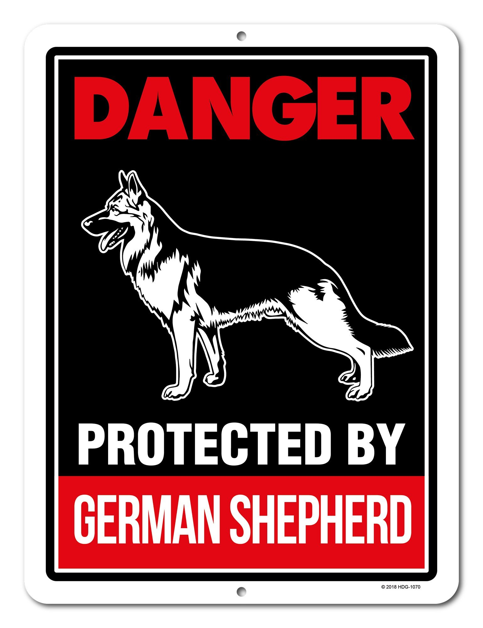 Honey Dew Gifts Beware of German Shepherd Signs, Danger Protected By German Shepherd 9 x 12 inch Beware of Dog Warning Metal Aluminum Sign, Guard Dog Sign