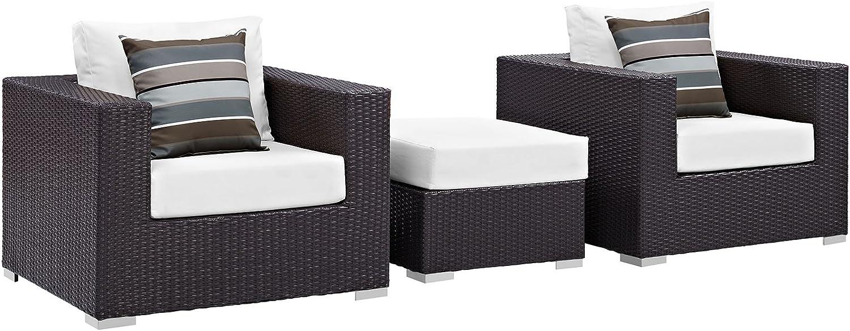 Modway Convene Wicker Rattan 3-Piece Outdoor Patio Furniture Set in Espresso White