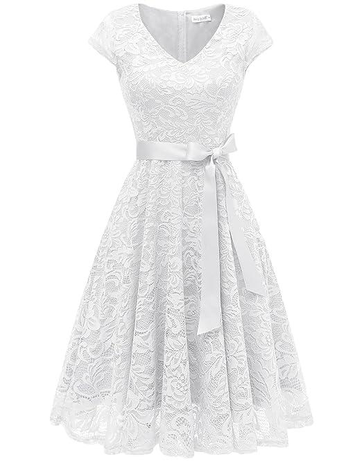 modernes Design exklusive Schuhe am beliebtesten Berylove Damen V-Ausschnitt Kurz Brautjungfer Kleid Cocktail Party Floral  Kleid BLP7006WhiteS