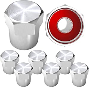 SAMIKIVA Brass Rubber Seal Tire Valve Stem Caps, Dust Proof Covers Universal fit for Cars, SUVs, Bike and Bicycle, Trucks, Motorcycles Flat Top (Silver (8 Pack))