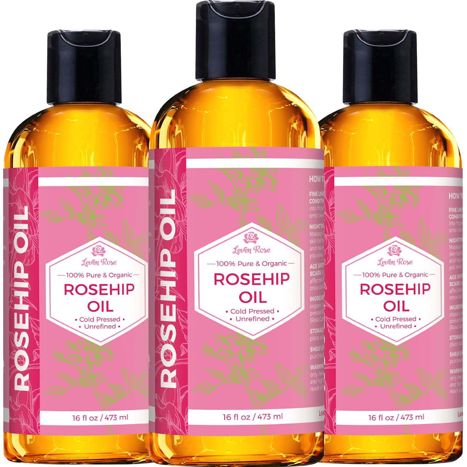 Rosehip Seed Oil by Leven Rose, 100% Pure Organic Unrefined Cold Pressed Anti Aging Moisturizer for Hair Skin & Nails