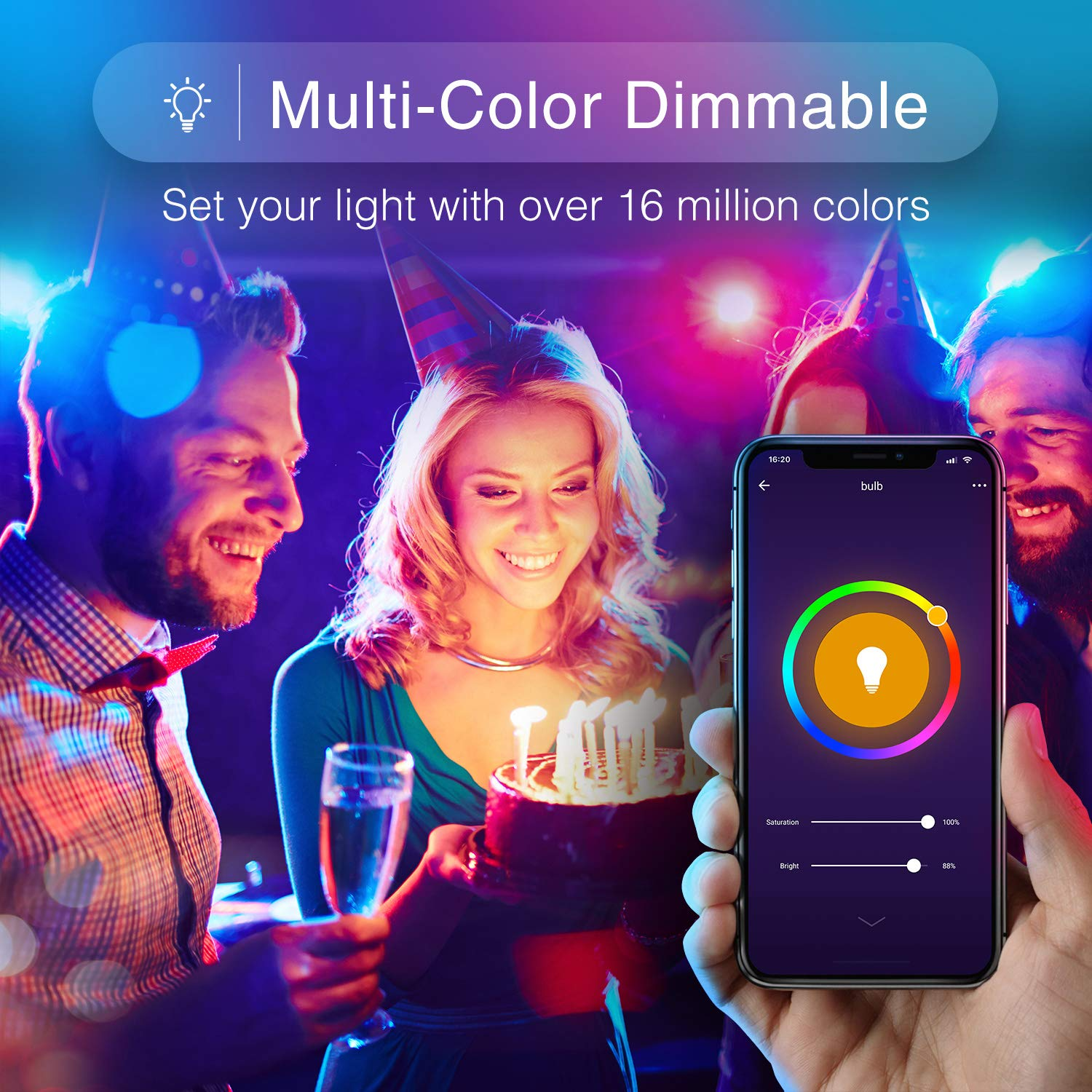 No Hub Required 2 Pack Google Home Gosund B22 Colour Changing Light Bulb RGBW+Warm White Works with Alexa APP Remote Control /& Voice Control Led Dimmable 8W 2700K Smart Light Bulb