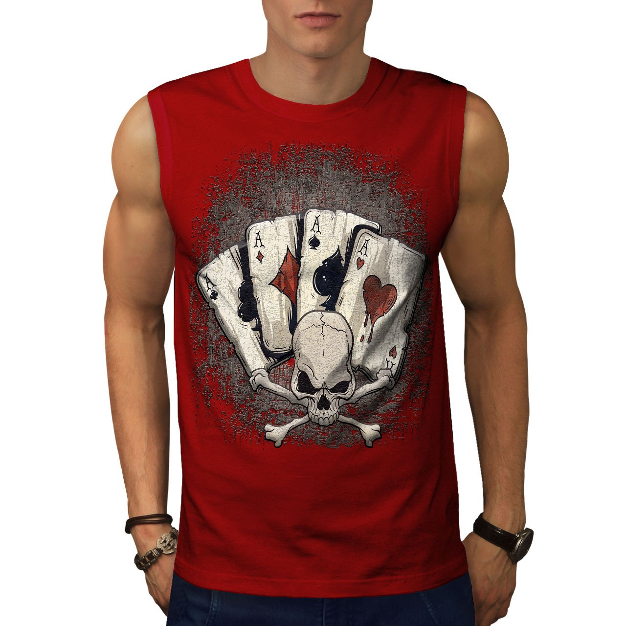 Wellcoda Poker Card Casino Skull Mens Sleevless T-shirt, Skull Active Top Shirt
