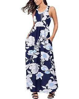 ACHIOOWA Mujer Vestido Elegante Casual Playa Bohemio Dress Floral Impreso Cuello Redondo Manga Corta Bolsillo Fiesta