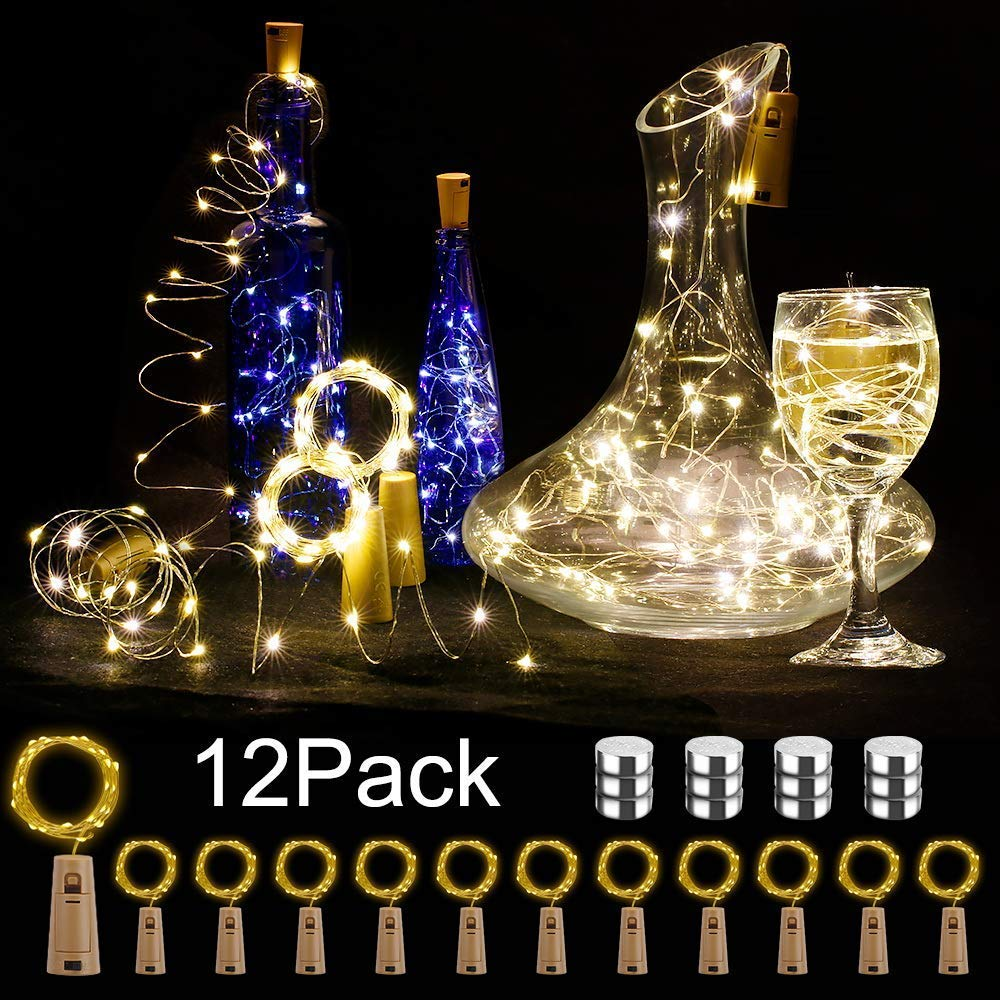 BIG HOUSE Bottle Lights, 12 Pack 2M 20 LEDs Copper Wire Battery Operated Wine Lights with Cork LED String Lights for DIY Bedrooms Parties Weddings Indoor Christmas Outdoor Decoration (Warm White)