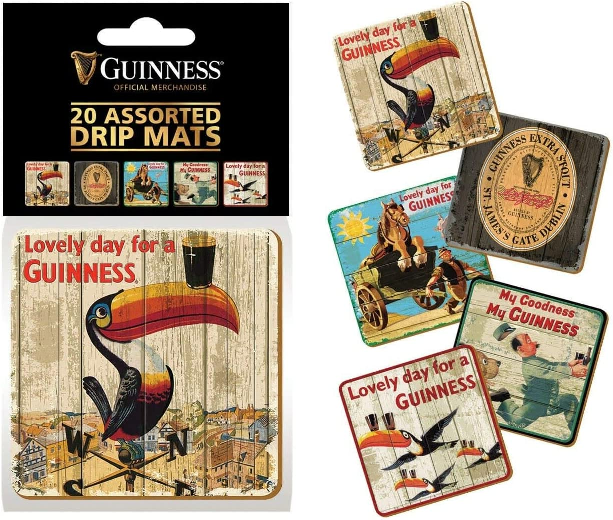 Guinness Heritage Advertising Drip Mat Coasters