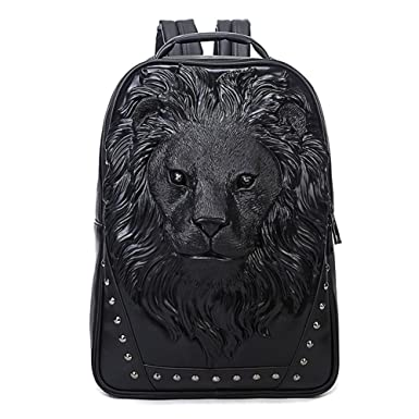 Amazon.com | Aibag Personalized 3D Lion Studded PU Leather Casual ...