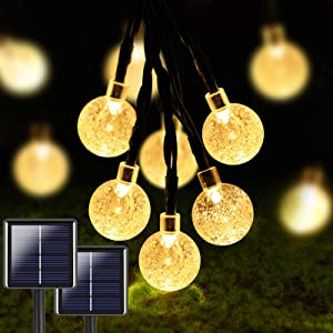 2-Pack 100 LED 32FT Crystal Globe Solar String Lights Outdoor, Waterproof Solar Lights Outdoor Decorative with 8 Modes, Solar Powered Patio Lights for Garden Yard Party Wedding (Warm White)