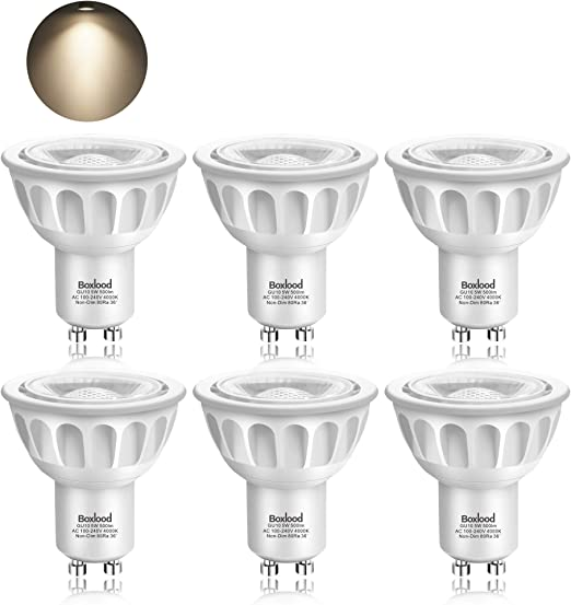Boxlood 5W GU10 Bombilla LED, Lámparas Halógenas Equivalentes a 50W, Blanco Neutro, 4000K, 500lm, Angulo de haz de 40°, 100-240V, No Regulable, Pack de 6: Amazon.es: Iluminación