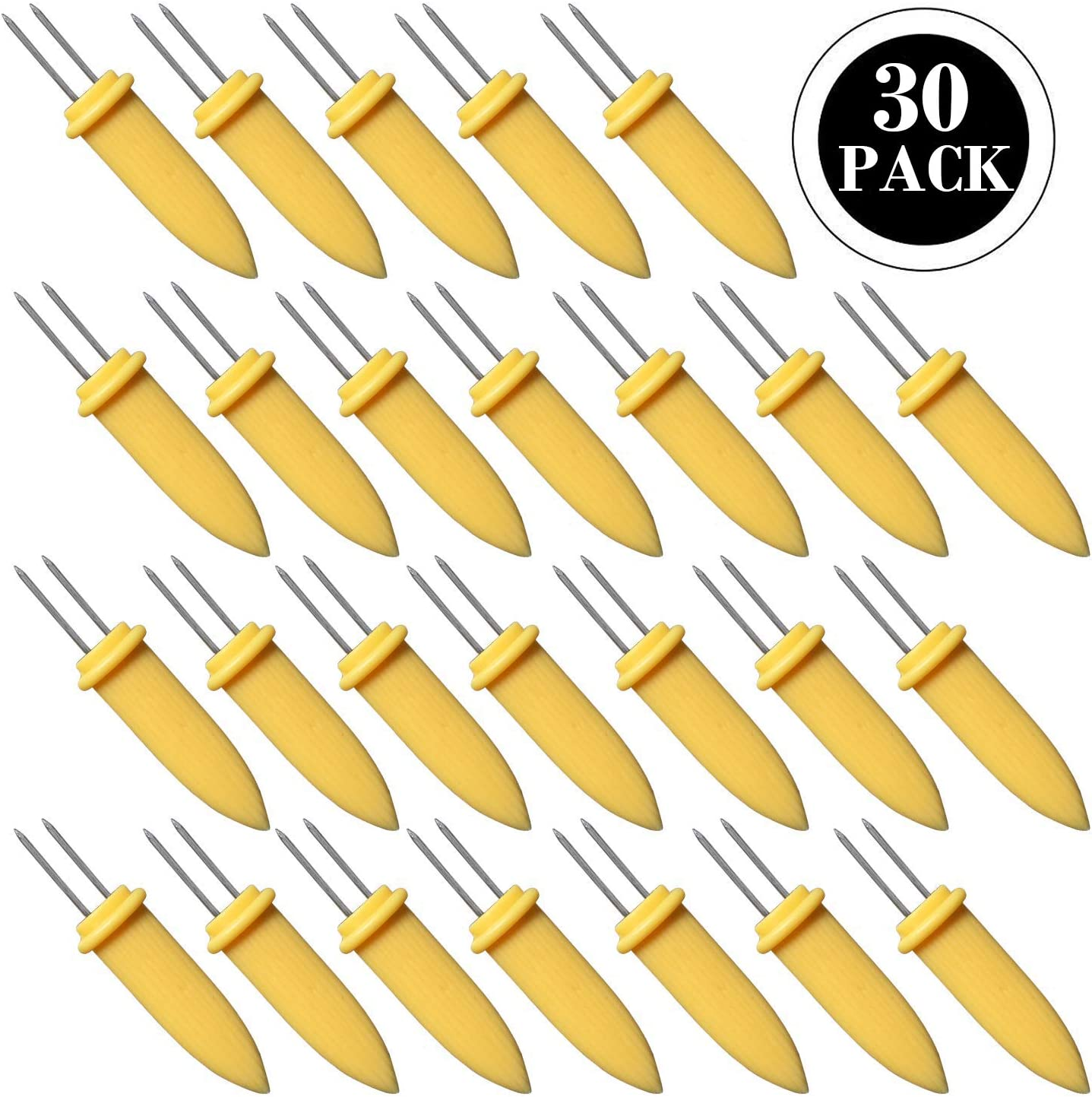 Large Size Stainless Steel Corn Holder with Storage Box Twin Prong Sweetcorn Holder Corn on The Cob Skewers Fruit Fork for Kitchen Tool Outdoor Home BBQ Cooking BigOtters 30PCS Corn Holders