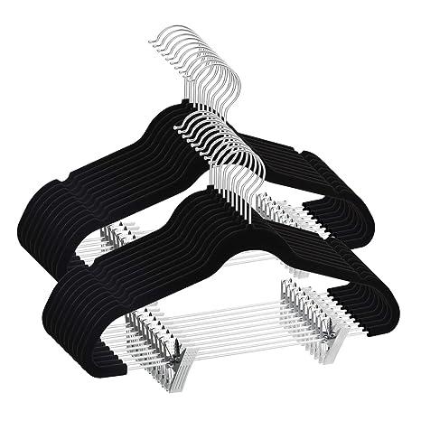TIMMY Perchas Terciopelo 12 pzas Perchas Ropa con Pinzas Antideslizante Muescas Gancho Giratorio 360º para Pantalones