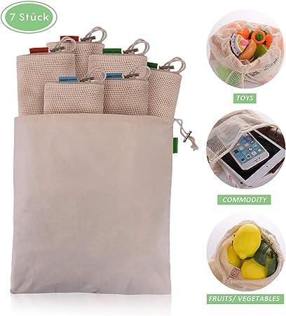 EKKONG Bolsa Reutilizable Algodon de Vegetales, Bolsa de Malla Lavable, Bolsas Reutilizables Compra, Bolsas de Malla Transpirables Adecuado para Frutas y Verduras Juguetes Juego de 7 (2L, 3M, 2S): Amazon.es: Hogar