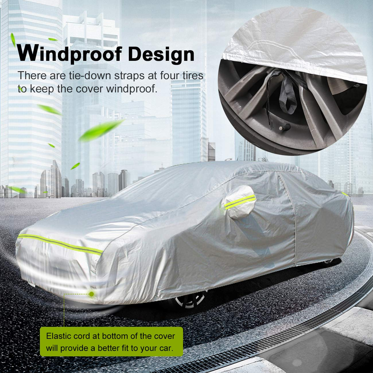 Favoto Car Cover Sedan Cover Universal Fit 450-495 cm 5 Layer Heavy Duty Outdoor UV Protection Waterproof All Weather Dustproof Snowproof Windproof Scratch Resistant with Storage Bag Vehicle Cover