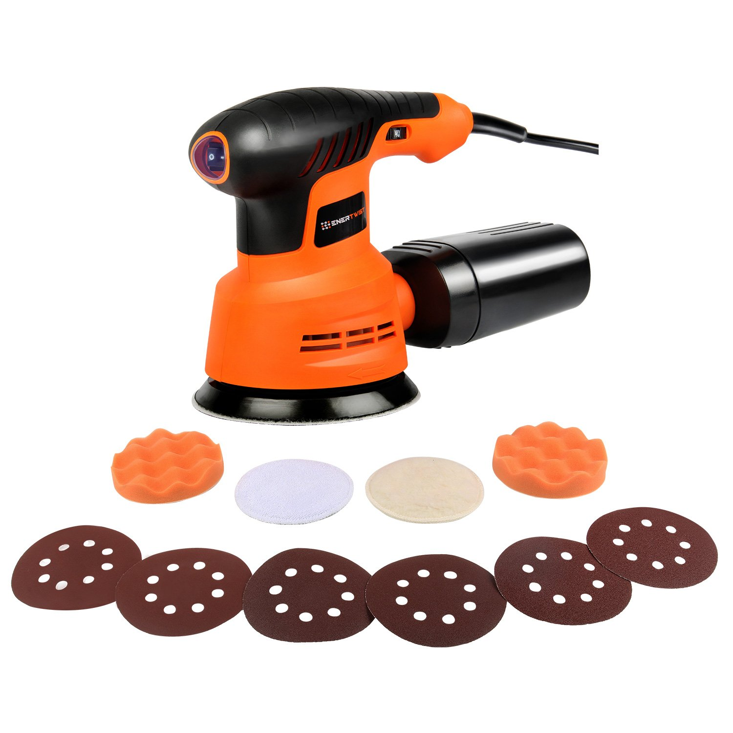 EnerTwist Random Orbit Sander - 5 Inch Variable Speed 2.4A Electric Orbital Sander/Polisher Kit with Dust Collector, ET-OS-280