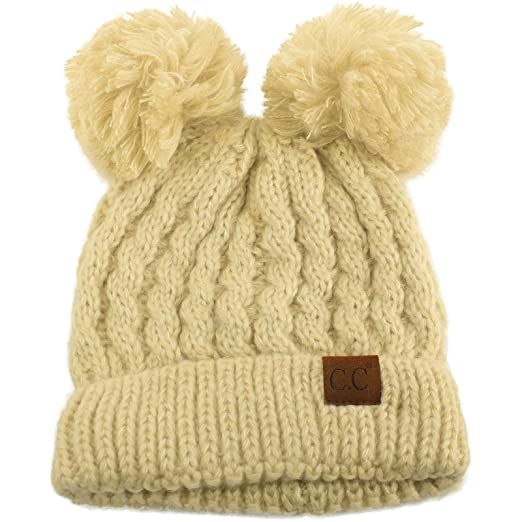 28258cb98 CC Winter Cute 2Pom Pom Ears 2tone Soft Warm Thick Chunky Knit Beanie Hat  Black