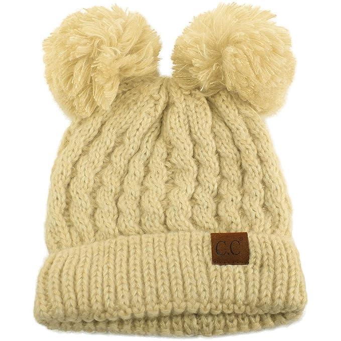 809bcd00216 CC Winter Cute 2Pom Pom Ears 2tone Soft Warm Thick Chunky Knit Beanie Hat  Beige