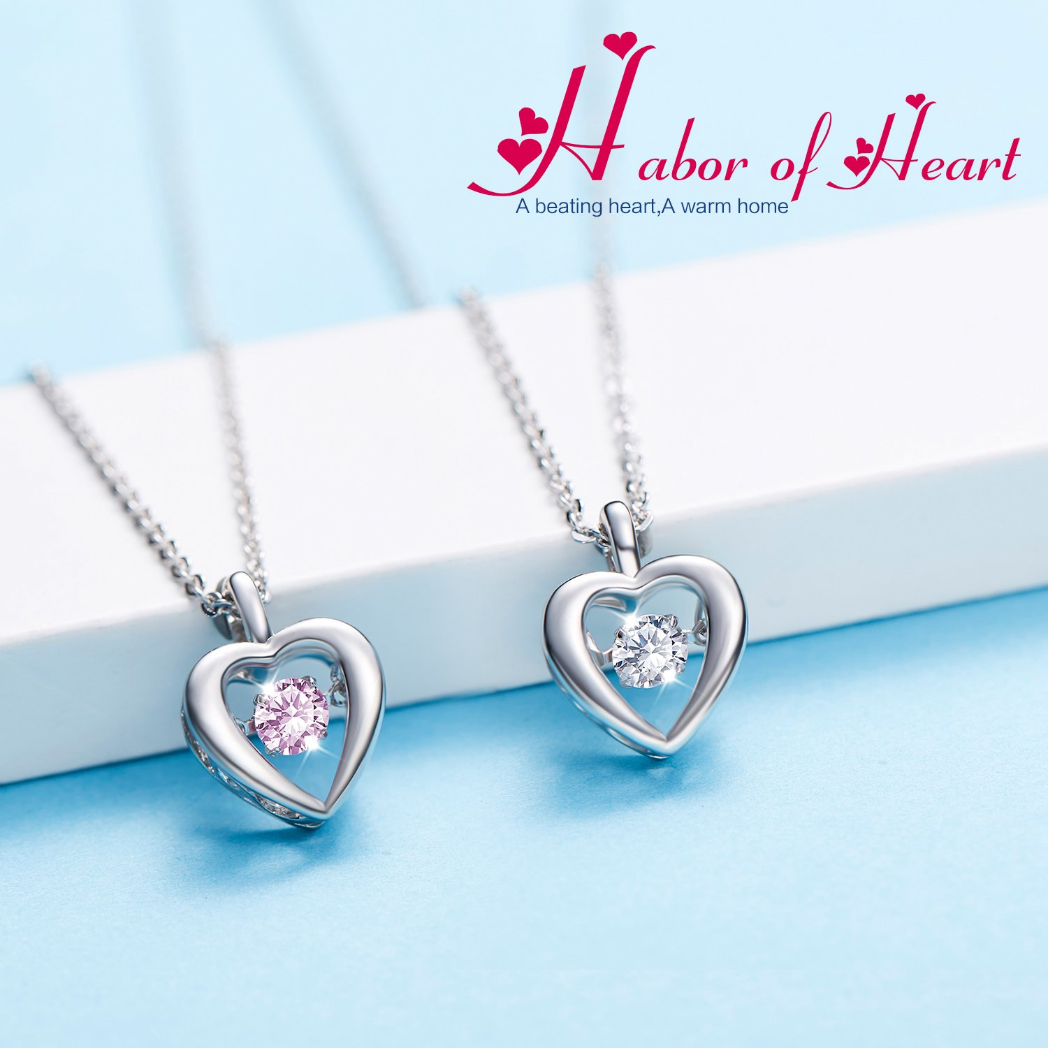 D.B.MOOD Womens Love Heart Pendant Necklace Zircon Mosaic 18k White Gold Plated Valentines Day Gift Necklace